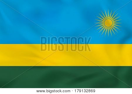 Rwanda Waving Flag. Rwanda National Flag Background Texture.