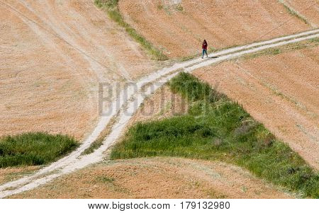 Young teenage girl walking on a single lane country road early in spring