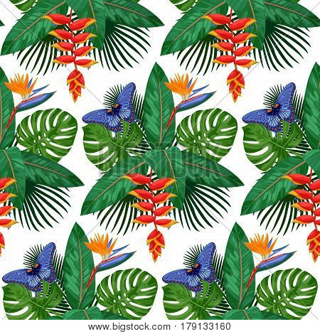 Seamless Pattern of tropical bouquet with flowers, leaves and butterfly isolated on white background. Tropic floral wallpaper.