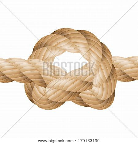 Rope Knot Vector. Marine Rope Knot. Isolated On White Background. For Fabric, Wallpaper, Wrapping. Figure 8