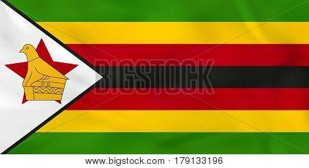 Zimbabwe Waving Flag. Zimbabwe National Flag Background Texture.