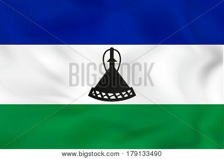 Lesotho Waving Flag. Lesotho National Flag Background Texture.