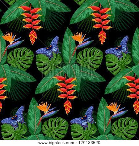 Seamless Pattern of tropical bouquet with flowers, leaves and butterfly isolated on black background. Tropic nigth floral wallpaper.