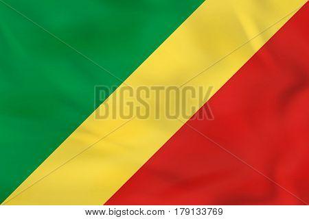 Congo Waving Flag. Congo National Flag Background Texture.
