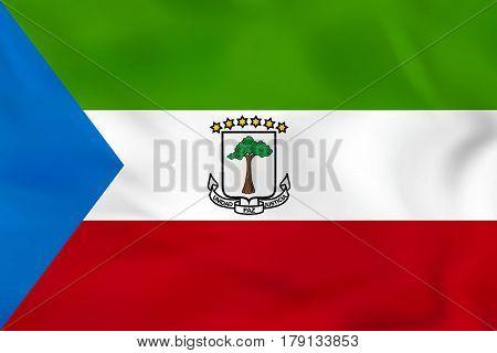 Equatorial Guinea Waving Flag. Equatorial Guinea National Flag Background Texture.