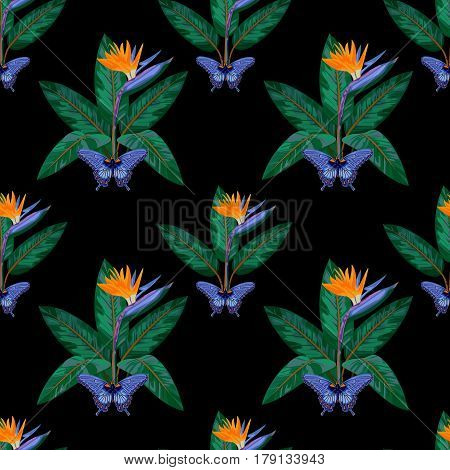 Seamless Pattern with tropical flowers and leaves of strelitzia and butterfly isolated on black background. Tropic night floral wallpaper.