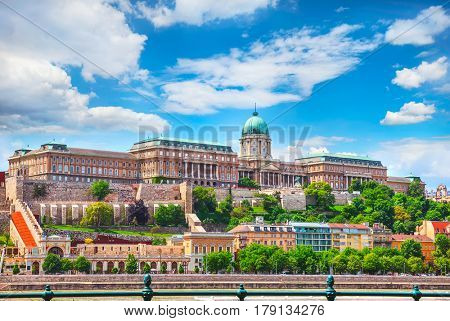 Buda Castle Royal Palace on Hill Hungary Budapest Europe panorama architecture famous landmark historical part city with blue sky.