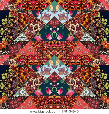 Festive patchwork pattern in ethnic style with flower - mandala, mallow, rose, house, elephant and abstract prints. Bright illustration. Hippie design. Blanket, wrapping, pillowcase.