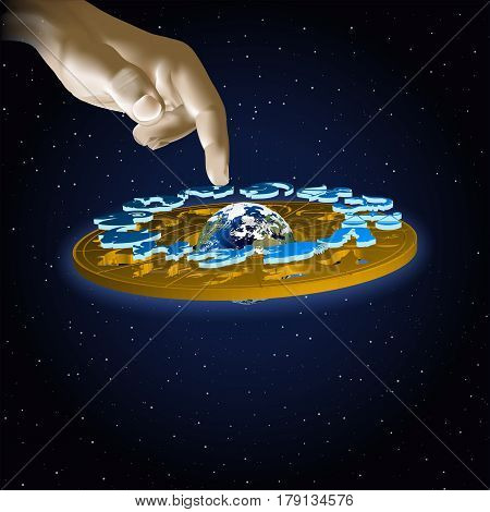 Astrology signs of the zodiac Aquarius in space with hand. Vector