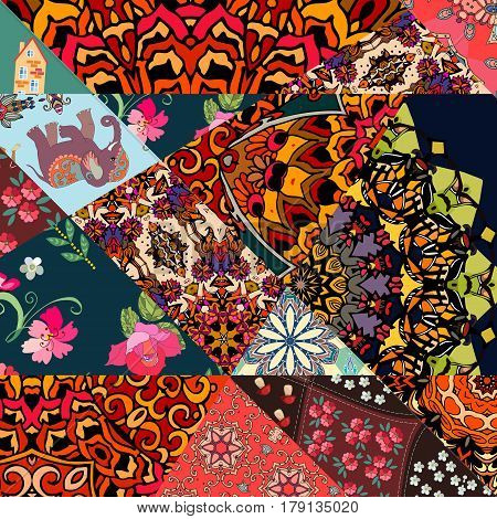 Festive patchwork pattern in indian style with flower - mandala, mallow, rose, house, elephant and abstract prints. Bright vector illustration. Hippie design. Blanket, wrapping, cushion.