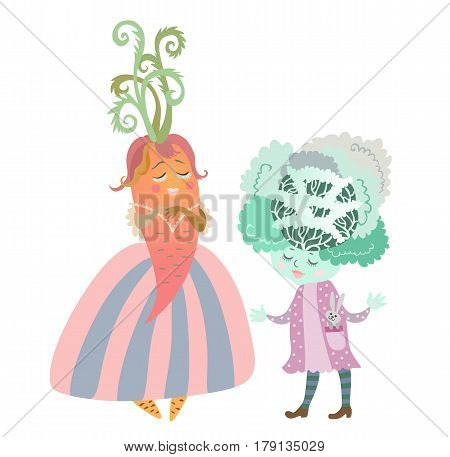 Cute cartoon cabbage - girl with bunny - toy and lady - carrot in beautiful dress. Charming personages. Illustration for children's books. Vector image.