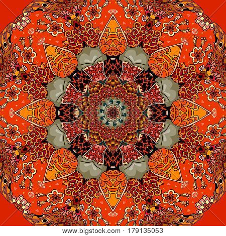 Seamless square pattern with bright flower - mandala in fiery tones. Beautiful illustration. Mat, carpet, lovely tablecloth, bandana print.