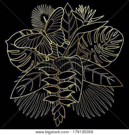 Golden tropical bouquet with flowers, leaves and butterfly. Textile print of tropic floral composition on black background.