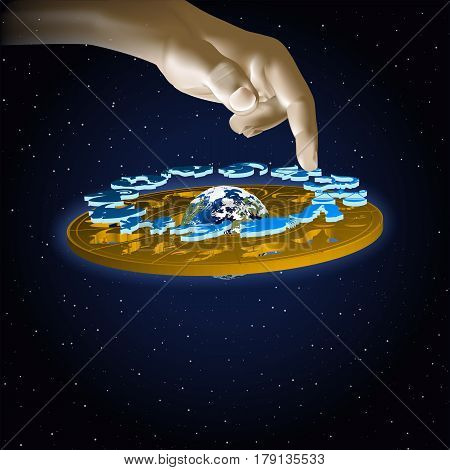 Astrology signs of the zodiac Sagittarius in space with hand