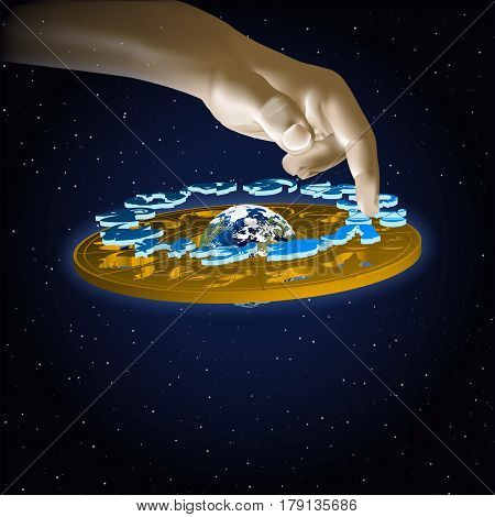 Astrology signs of the zodiac scales in space with hand