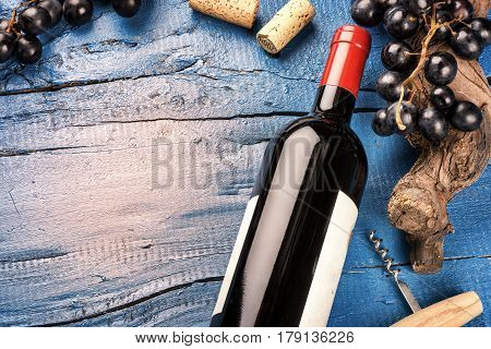 Setting with bottle of red wine grape and corks. Wine list concept over blue background
