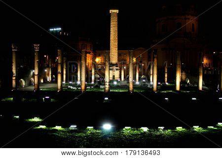 Night-Ruins of Trajan's Forum in Rome Italy