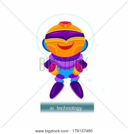 Cartoon robot character. Chat Bot, Robots, Virtual Assistance, Artificial Intelligence. Website Element, Mobile websites and Apps