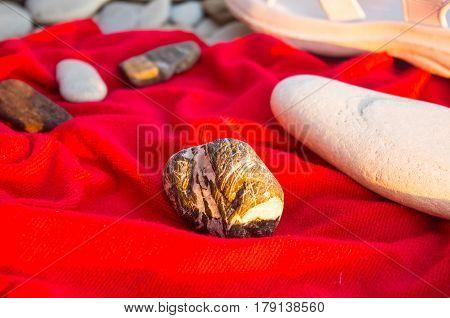 Beach Accessories On Pebble Beach