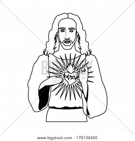 jesus christ holding sacred heart christian icon image vector illustration design