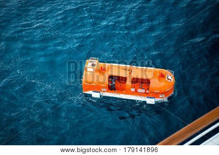 Orange Rescue, Lifeboat For Emergency Evacuation With People On Water