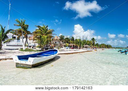Sailing Boat On Water At Beach, Costa Maya, Mexico