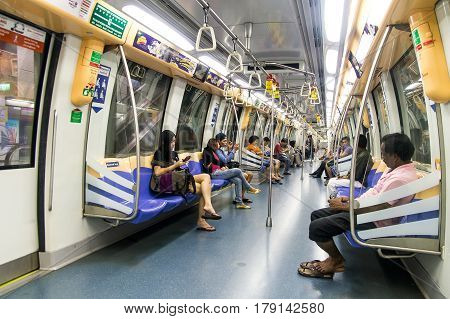Interior of Alstom Metropolis C751 subway carriage in Singapore.2013