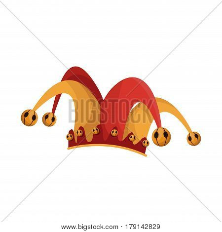 jester hat icon over white background. april fools day concept. colorful design. vector illustration