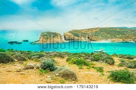 Beautiful view over the famous Comino place - Blue Lagoon island of Malta