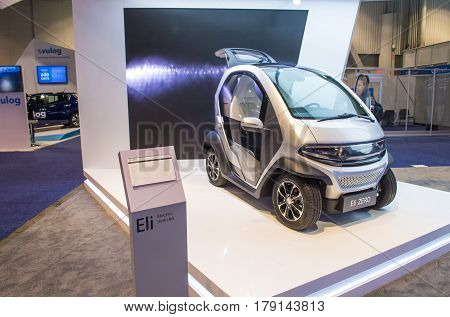 LAS VEGAS - JAN 08 : Eli Electric car at the CES Show in Las Vegas Navada on January 08 2017. CES is the world's leading consumer-electronics show.