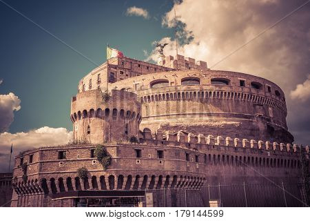 Castel Sant'Angelo (Castle of the Holy Angel) in Rome, Italy. This old castle with the mausoleum of the Emperor Hadrian is one of the main attractions of Rome.