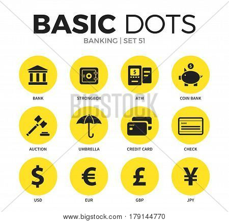 Banking flat icons set with bank form, credit card form, strongbox form isolated vector illustration on white