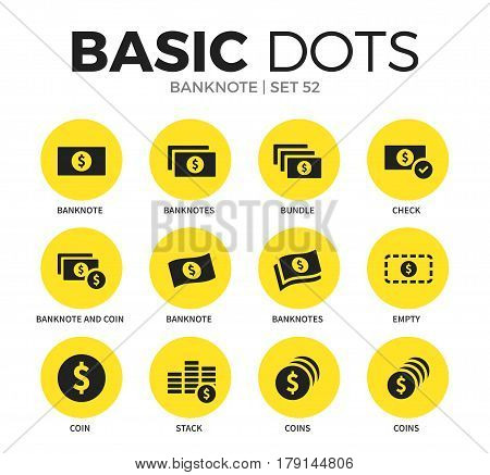Banknote flat icons set with banknote form, coins form and check icon isolated vector illustration on white