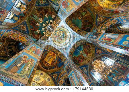 ST PETERSBURG, RUSSIA - JUNE 13, 2014: Interior of Church of the Savior on Spilled Blood (Cathedral of the Resurrection of Christ) in Saint Petersburg. It is an architectural landmark of city and a unique monument to Alexander II the Liberator.