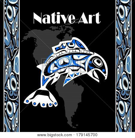 native salmon Vector fish in blue on black background with native ornaments and north america