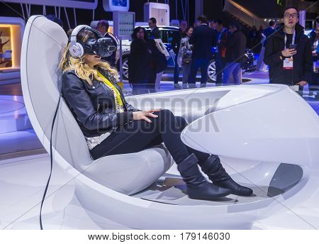 LAS VEGAS - JAN 08 : Virtual reality demonstration at the Volkswagen booth at the CES Show in Las Vegas Navada on January 08 2017. CES is the world's leading consumer-electronics show.