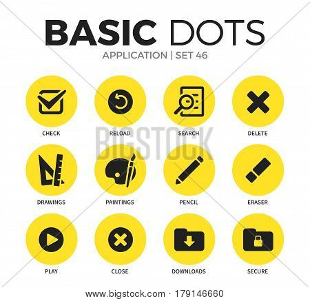 Application flat icons set with drawings search form and delete form isolated vector illustration on white