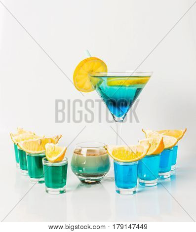 Colorful Drink In A Martini Glass, Blue And Green Combination, Nine Drinks In A Shotglass, Drinks Se