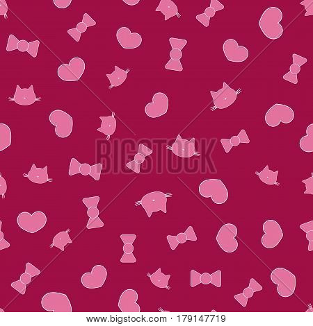 Seamless pattern with silhouettes of cat's head heart bow. Pink purple white. Vector illustration.