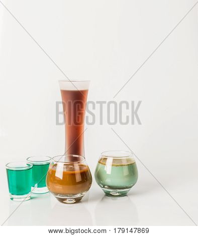 Five Color Drink Shots, Different Glass Shapes, Green And Brown Shots