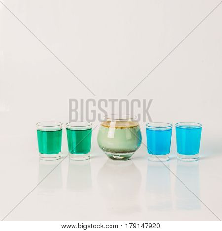 Five Color Drink Shots, Different Glass Shapes, Blue, Green And Pistachio Shots