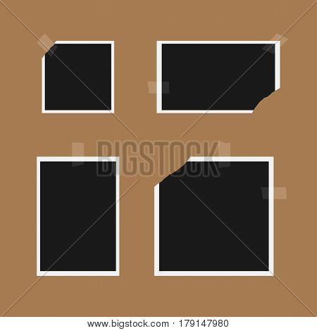 Set of retro photo templates with torn edges. Glued pieces of adhesive tape. Four elements isolated on a brown background. Square rectangular horizontal vertical. Vector illustration.