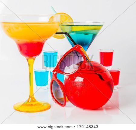 Set Of Color Drink, Different Shapes Of Glasses, Drink Shots
