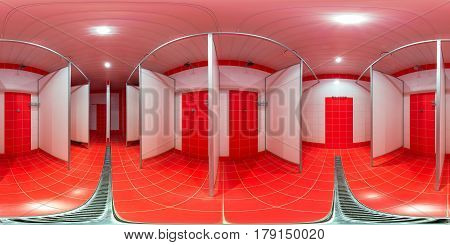 The panorama is inside the public shower inside the male locker room in a sports club of red color.