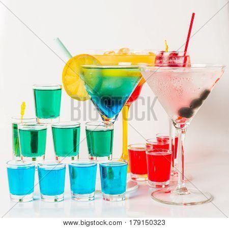 Set Of Color Drink, Different Shapes Of Glasses, Drink Set