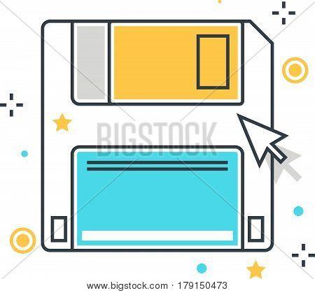 Color Line, Floppy Concept Illustration, Icon