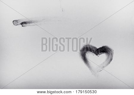 Black And White Image-heart, Drawn By Finger And Chalk, Backgrounds, Textures