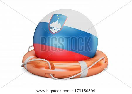 Lifebelt with Slovenia flag safe help and protect concept. 3D rendering