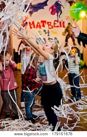 Russia. Moscow - November 20, 2016. Children's paper disco children's holiday