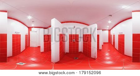 Rectangular sweep of equidistant panorama inside the public shower room for men and women.